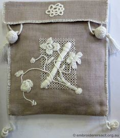 A Casalguidi Bag ~ stitched by Meryl Fellows ~ From Pat Bootland class ~ Embroiderers Guild ACT