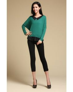 Green Bat Sleeve Doll Collar Chiffon Splicing Sweater - Sweaters - apperal Indressme$41.40
