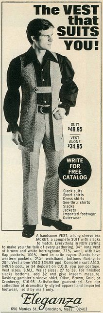 "#Fashion crimes...mind you, it's a handsome vest. Eleganza Vest, 1970 ""dashing gambler's sleeve shirt"""