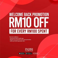 Padini Welcome Back Promotion RM10 OFF for Every RM100 Spent valid until 30 September 2021 30 September, App Store Google Play, Fashion Sale, North Face Logo, Welcome, Mobile App, Promotion, Mobile Applications