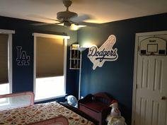 Boys dodger blue bedroom. So cute!