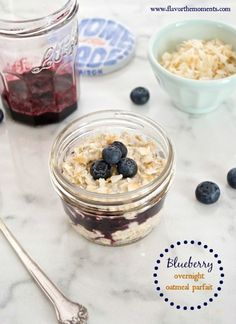 Blueberry Overnight Oatmeal Parfait is the easiest, nutritious way to start your day! Rolled oats set in coconut milk overnight in the fridge, so in the morning they're soft, rich, and creamy. Layer them with a luscious blueberry compote, and you've got a breakfast that tastes more like a treat. These oats are perfect for warm summer mornings, and for breakfast on the go.