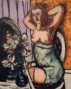 Painting by Max Beckmann (1884-1950), 1947, Woman with Mirror and Orchids.
