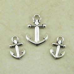 TierraCast Ship Anchor Pendant and Charm Mix Pack  by Dragynsfyre (Craft Supplies & Tools, Jewelry & Beading Supplies, Beads, pirate ship, sail boat, sailor sailing, jack sparrow, black beard, captain hook, ocean, tattoo, nautical, tierracast charm, tierracast bead, black ship anchor, anchor pendant)