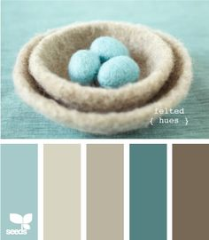 my favorite colors. Probably can't do the whole house in the same palette Taupe in living room, Blue in KITCHEN!