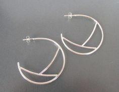 Geometric Sterling Silver Hoop Earrings by Quiet Time Jewelry