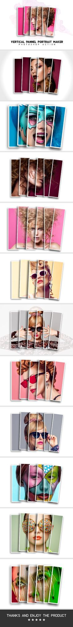 Vertical Panels Collage Photoshop Action - Photo Effects Actions