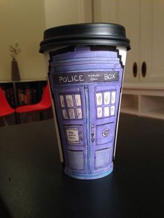 TARDIS Drawing on Paper Coffee Cup