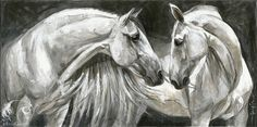 Reproductions giclées sur toile - giclée prints on canvas — Elise Genest Painted Horses, Horse Drawings, Animal Drawings, Horse Pictures, Art Pictures, Arte Equina, Horse Sketch, Horse Artwork, White Horses