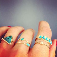 Turquoise & Gold Stacked Rings