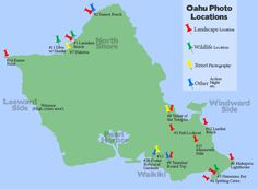 Map of the best photography locations in Hawaii separated by type of photography.