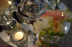 Peach and strawberry pink look amazing with silver. Strawberry, Peach, Table Decorations, Grey, Amazing, Modern, Silver, Pink, Inspiration