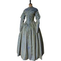 Romantic Period Afternoon Dress, Antique Dress, Antique Gown, ca. 1840  Antique Historical Clothing Fashion Accessories www.rubylane.com @rubylanecom #rubylane