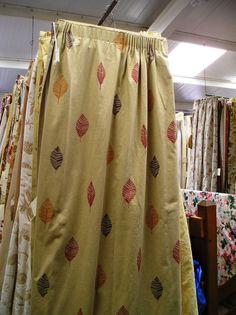 1359B Tan Cotton/Linen Leaf Pattern Pencil Pleat Curtains :: Full Details - £154.00