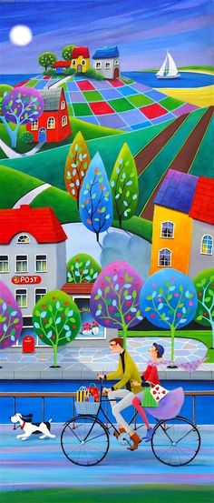 Paintings and illustrations by Iwona Lifsches. Art presentation and sale of original paintings and other art products. Art Et Illustration, Art Illustrations, Colorful Paintings, Naive Art, 2d Art, Whimsical Art, Fine Art Paper, Home Art, Watercolor Paintings