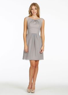 Bridesmaids and Special Occasion Dresses by Alvina Maids - Style AV9432...Crinkle Chiffon A-line cocktail dress. Pleated bateau neckline with sheer lace cap sleeve and keyhole back.  Sample color: Silver Metallic / Pewter / Cashmere