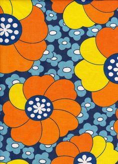 Vintage Big Orange and Yellow Flowers on Blue by Pommedejour, $32.00