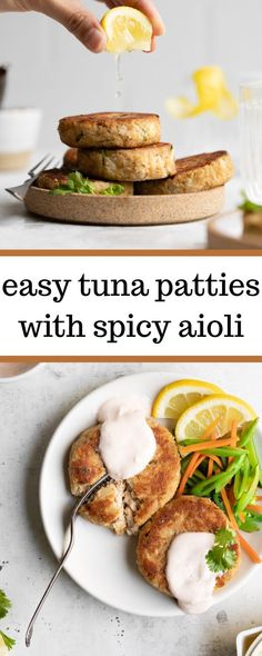 For a filling and protein rich meal, these Easy Tuna Patties with Spicy Aioli do the trick. They're made with tuna, crackers, and lemon juice, and are topped with a zesty and spicy homemade aioli sauce!
