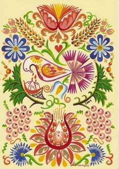 Contemporary Decorative Art, Polish Folk Art, Folk Embroidery, Naive Art, African Animals, Arts And Crafts Movement, My Canvas, Pottery Painting, Flower Patterns
