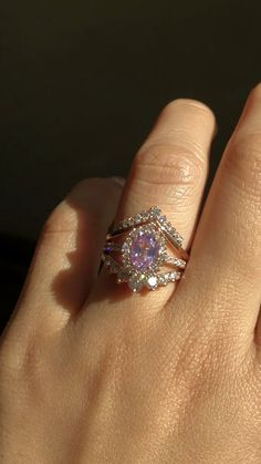 Do we have any curved wedding band lovers here? If so, heres a dream bridal ring set for you! This trio ring stack fea Dream Engagement Rings, Rose Gold Engagement Ring, Diamond Wedding Rings, Engagement Ring Settings, Bridal Rings, Vintage Engagement Rings, Sapphire Wedding Bands, Intricate Engagement Ring, Purple Wedding Rings