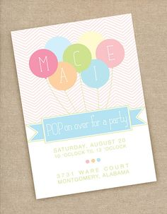 Printable Balloon Birthday Party Invitations