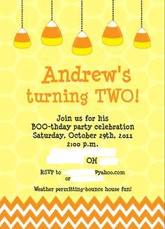 DimplePrints on Etsy--Candy Corn invitation