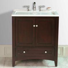"Espresso All-in-One Laundry 31"" Traditional Single Sink Bathroom Vanity"