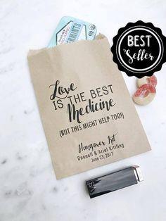 Wedding Hangover Kit Bags  Love is the Best Medicine  Favor