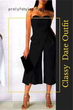 Take the anxiety out of what to wear for your next dinner date outfit with this black strapless jumpsuit. Get heads turning for all the right reasons with this classy jumpsuit. Elegant evening jumpsuit is the perfect look for a first date outfit for women classy styles. Trendy dinner date outfit are trendy outfit ideas for women fashion look. Formal dinner date outfit for women's stylish date look. Fancy dinner date outfits  Formal date night outfit. Dinner Date Outfits, Cute Date Outfits, Spring Outfits Women Casual, First Date Outfits, Date Night Dresses, Dressy Outfits, Elegant Evening Jumpsuits, Jumpsuits For Women Formal, Jumpsuit Dressy