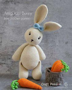 Amigurumi Bunny - Free Crochet Pattern • Craft Passion Crochet Yarn, Crochet Toys, Free Crochet, Crotchet, Crochet Crafts, Yarn Crafts, Free Knitting, Amigurumi Doll, Amigurumi Patterns