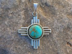 New Mexico Zia, Turquoise and Silver Pendant, southwestern native jewelry designs from Santa Fe Silverworks by Award-winning Artist Gregory Segura