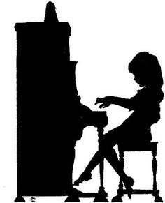 Girl playing piano silhouette