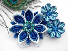 Kanzashi hair clip/Kanzashi flower/Hair clip for girls/Head accessories  About 3,54 inches length of the entire flower arrangement  d large flower - 2,36 inches  d little flowers- 1,18 inches  Ready to ship