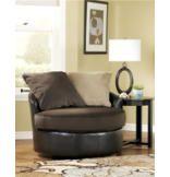 Gemini Round Swivel Chair - Chocolate Upholstery