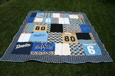 T-Shirt/Jersey Quilt! This would be such a clever way to keep all of your kid's little league/softball/soccer jerseys. What a cool little keepsake for them!