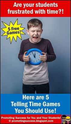 Are your students frustrated with learning how to tell time? Visit this elementary teacher blog for FREE top 5 telling time activities and fun games for teaching 1st, 2nd and 3rd grade, also for students with special education or autism. You will find a BINGO type game, an online Crazy Clock game, and printable math task cards. You will also find an iPad app and a whole group or small group classroom game. Activities include how to tell time to the minute, 15 minutes, half hour and hour.