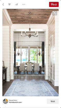 I love this entry way! Accent ceiling, shiplap etc
