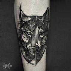 Old one, lynx-wolf #tattoo #lynx #lynxtattoo #wolf #wolftattoo #calf