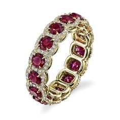 Ruby and Diamond Halo Eternity Band, Omi Privé