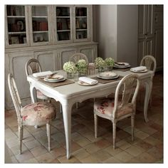 French Essence :: Dining Room and beautiful old  painted bibliothque, and wonderful terracotta tiles  :: Petit Bijou - Vicki Archer