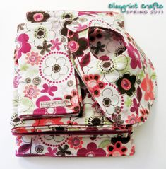 sewing, a list of tutorials for a baby blanket, burp cloths, changing pad, wipes holder, binky leash, nursing cover, and bibs.