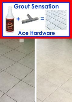 Grout Sensation and Grout Brush at  Ace Hardware! Visit website for videos! Kitchen and bathroom tile floors can be cleaned in as little as 10 - 15 minutes! * Pour on grout lines * Brush grout lines * Mop 2-3 times with water = New looking tile floor! Then... You can keep your grout clean by doing this...Pour 1 cup of Grout Sensation in a bucket of water and mop your tile floors every 1 - 2 weeks depending on foot traffic. Your tile floor grout may never have to be brushed again!