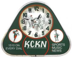 KCKN radio station light-up clock w/sports theme