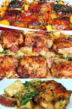 Creamy Garlic Butter Chicken and Potatoes is the best chicken recipe I have ever tasted! Absolute perfection with potatoes and spinach. A complete meal in one! Garlic Chicken Pasta, Garlic Chicken Recipes, Chicken Potatoes, Healthy Chicken Recipes, Baked Chicken, Cooking Recipes, Chicken Pieces Recipes, Cracker Chicken, Rosemary Chicken