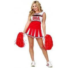 Fantasia Feminina Cheerleader Líder de Torcida Festa Halloween