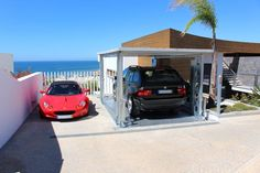 Car lift with cover lid...high technology for your private garage! #garage  #idealpark #carlift #Portugal
