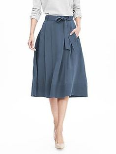 Blue Belted Midi Skirt | Banana Republic