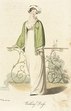 Walking Dress, 1813.   Green and white are so pretty together…