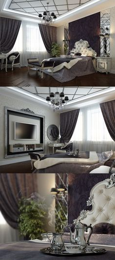 .glam bedroom.  I think a straight, tufted headboard would fit with this look better.  Gorgeous textures &  colors   Home Decor