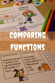 This Halloween comparing functions coloring activity is fun alternative to another boring worksheet. It gets students engaging practice with reviewing comparing two functions that are in the form of equations, tables, graphs, and written expressions. This is a great addition to your math class just in time for Halloween.